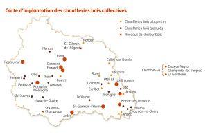 carte d'implantation des chaufferies bois collectives