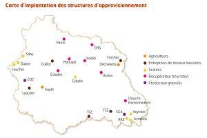 carte d'implantation des structures d'approvisionnement